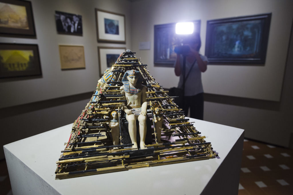A three-dimensional model for the set up of the opera Aida directed in 2002 in Verona by Franco Zeffirelli is on display during a preview of the Franc...