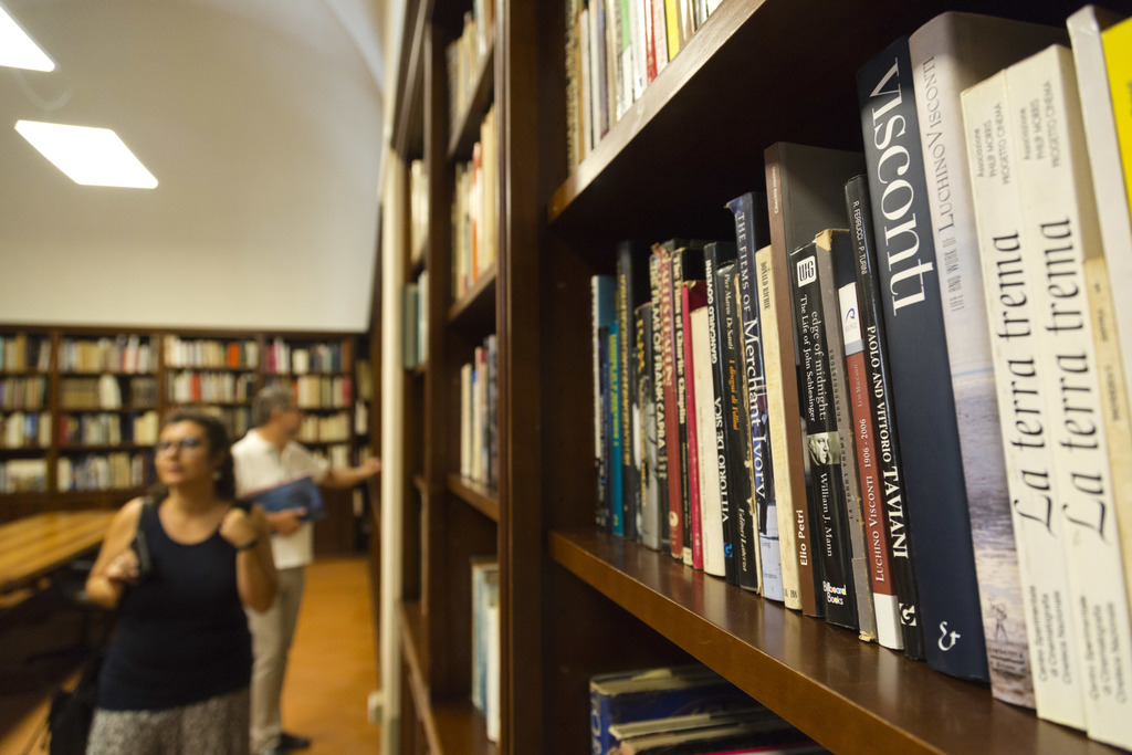 Journalists visit the library of the Franco Zeffirelli International Centre for the Performing Arts in the late 17th century San Firenze Complex in Fl...