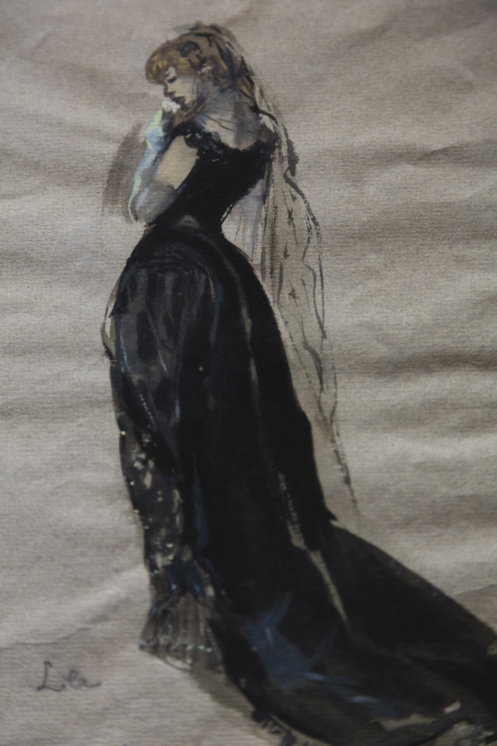 A tempera sketch by Lila de Nobili for the role of Violetta of the opera La Traviata is seen during a preview of the Franco Zeffirelli International C...