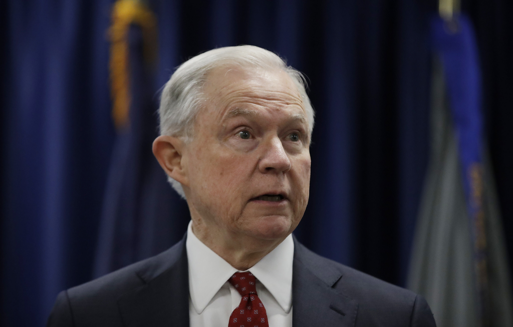 FILE - In this July 21, 2017 file photo, Attorney General Jeff Sessions speaks in Philadelphia. President Donald Trump took a new swipe at on Monday, ...