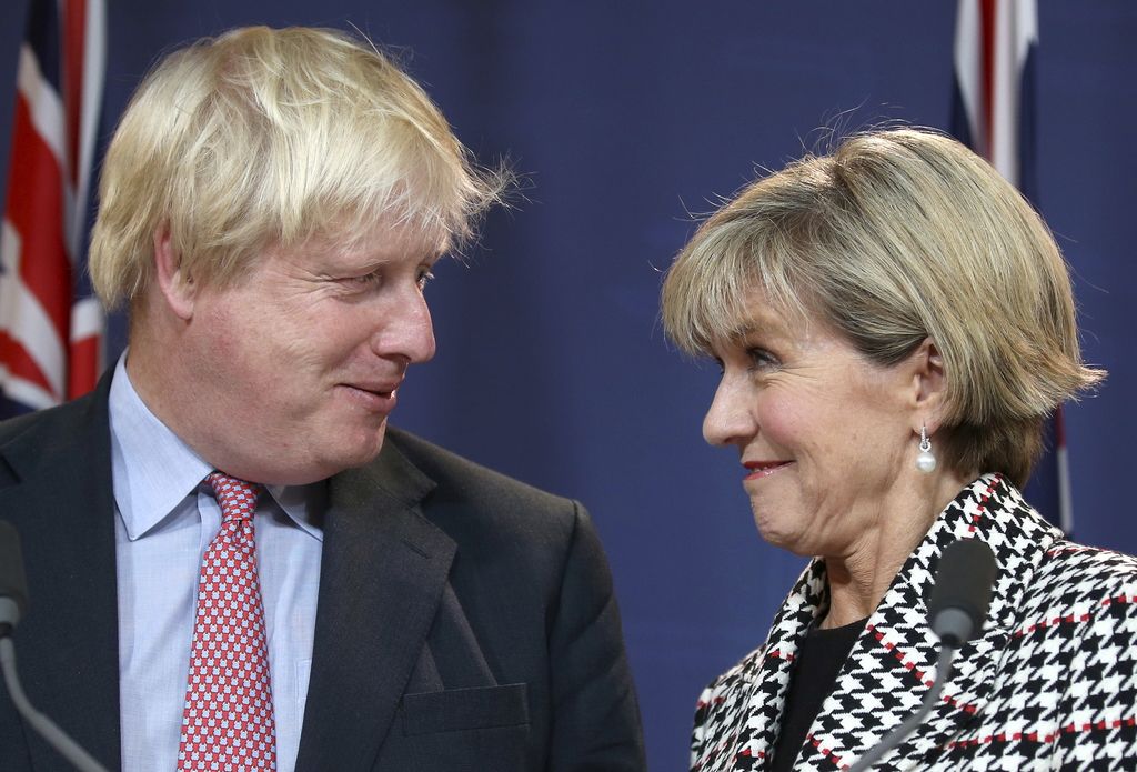 In this Thursday, July 27, 2017, file photo, British Foreign Secretary Boris Johnson, left, and Australian Foreign Minister Julie Bishop look at each ...