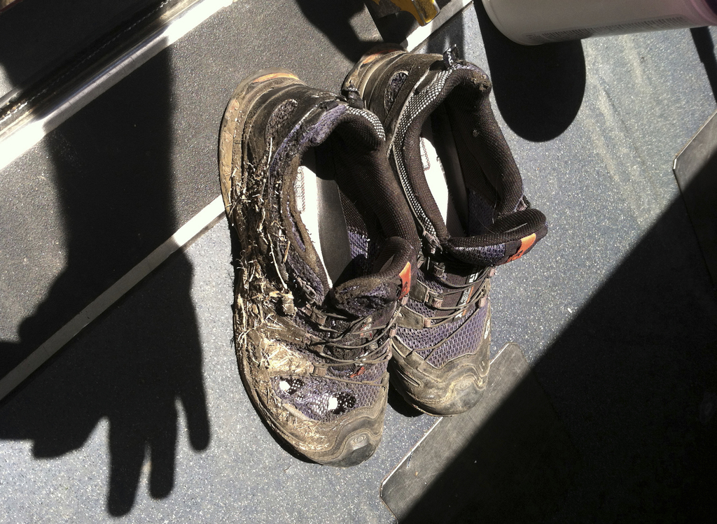 In this photo provide by the Bryan, Texas Fire Department, taken on April 29, 2014, shoes belonging to one of the three workers injured after an explo...