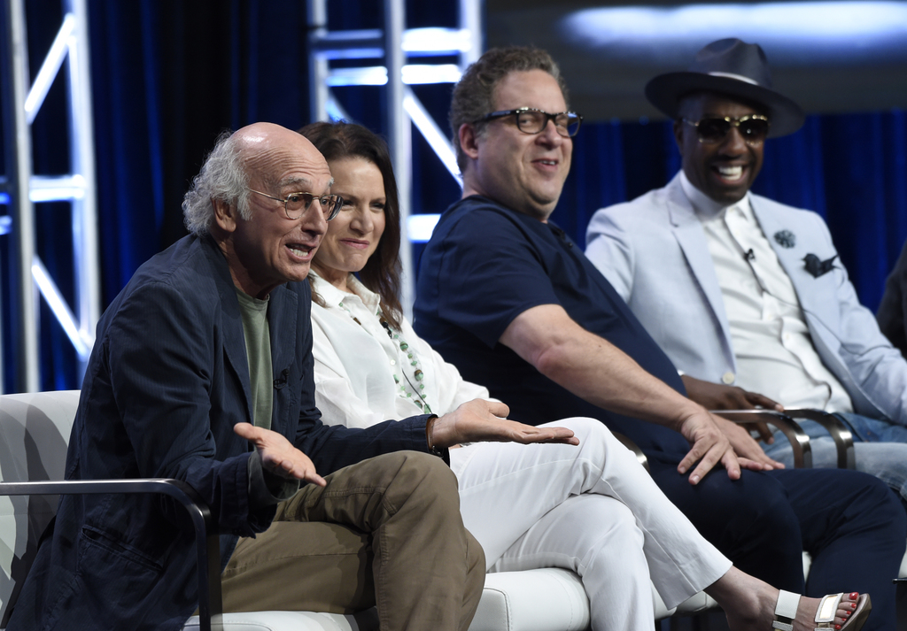 """Actor/creator/executive producer Larry David, from left, Susie Essman, actor/executive producer Jeff Garlin and J.B. Smoove participate in the """"Curb Y..."""
