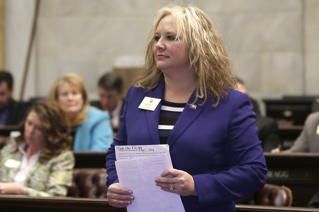 ADVANCE FOR USE MONDAY, JULY 31, 2017 AND THEREAFTER-FILE - In this Friday, Feb. 27, 2015 file photo, Republican state Rep. Rebecca Petty walks on the...