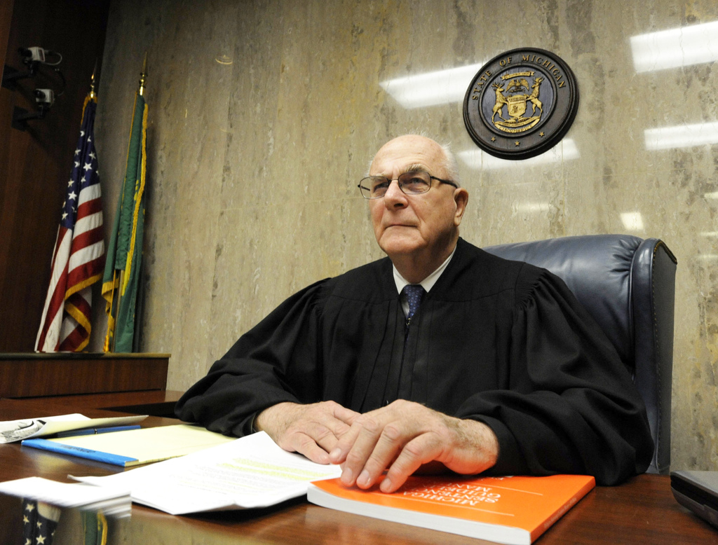 ADVANCE FOR USE MONDAY, JULY 31, 2017 AND THEREAFTER-This 2010 photo shows Judge Fred Mester in Waterford, Mich. In a 2016 letter submitted for the re...