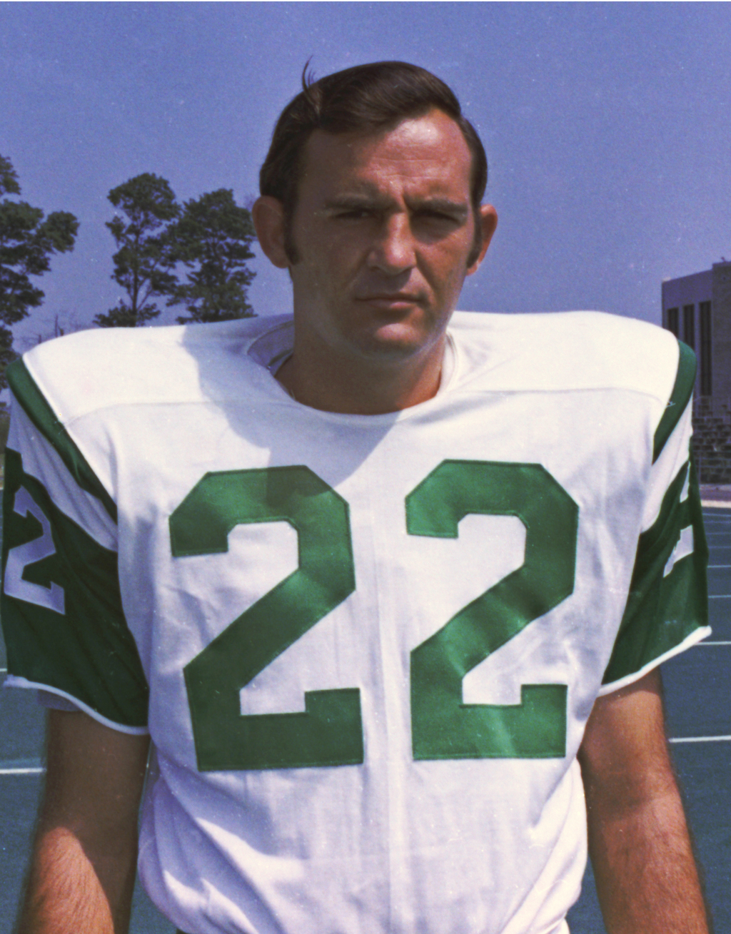 In this 1970 photo, New York Jets safety Jim Hudson poses for a photo, location not known. After his death, researchers found that Hudson suffered fro...