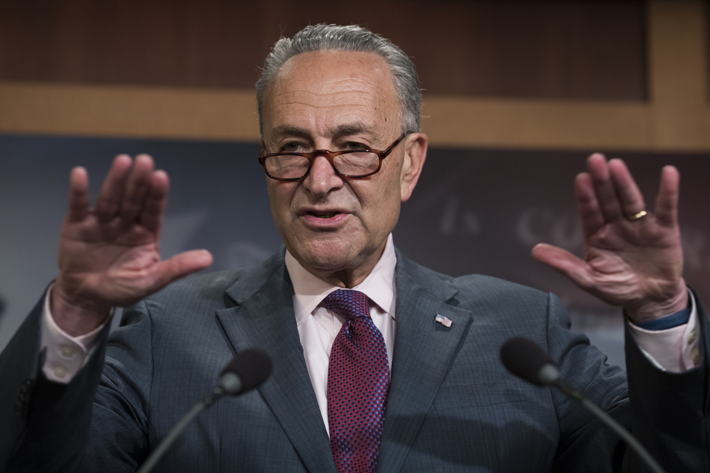 Senate Minority Leader Chuck Schumer of N.Y., speaks to reporters on Capitol Hill in Washington, Friday, July 28, 2017, after the Republican-controlle...