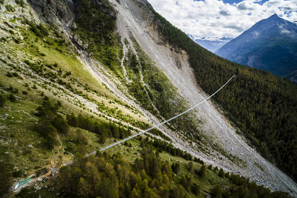 """The """"Europabruecke"""",  supposed to be the world's longest pedestrian suspension bridge with a length of 494m, is pictured one day prior to the official..."""