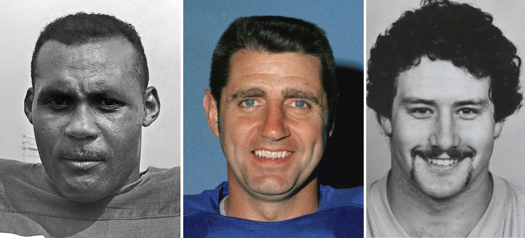 FILE - From left are file photos showing former football players Ollie Matson, in 1964, Earl Morrall in 1971 and John Grimsley in 1987. This week, The...