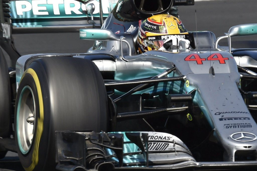 British Lewis Hamilton of Mercedes drives his car during Formula One Hungarian Grand Prix on the Hungaroring circuit in Mogyorod, 23 kms north-east of...