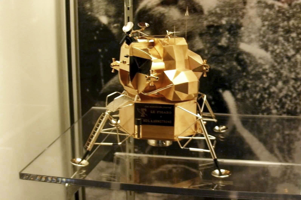 This image provided by Armstrong Air and Space Museum shows a  lunar module replica at Armstrong Air and Space Museum in Wapakoneta, Ohio. Police say ...