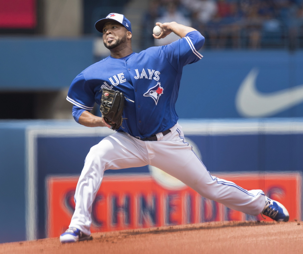 Toronto Blue Jays starting pitcher Francisco Liriano throws against the Los Angeles Angels during the first inning of their AL baseball game in Toront...
