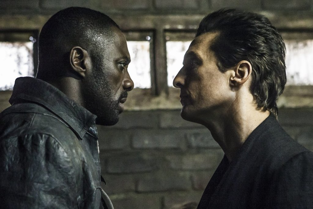 "This image released by Sony Pictures shows Idris Elba, left, and Matthew McConaughey in the Columbia Pictures film, The Dark Tower."" (Ilze Kitshoff/Co..."