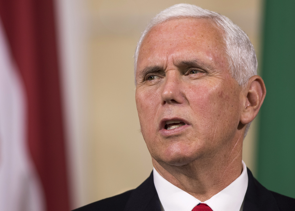 U.S. Vice President Mike Pence speaks during a news conference following a meeting with Lithuanian President Dalia Grybauskaite, Estonian President Ke...