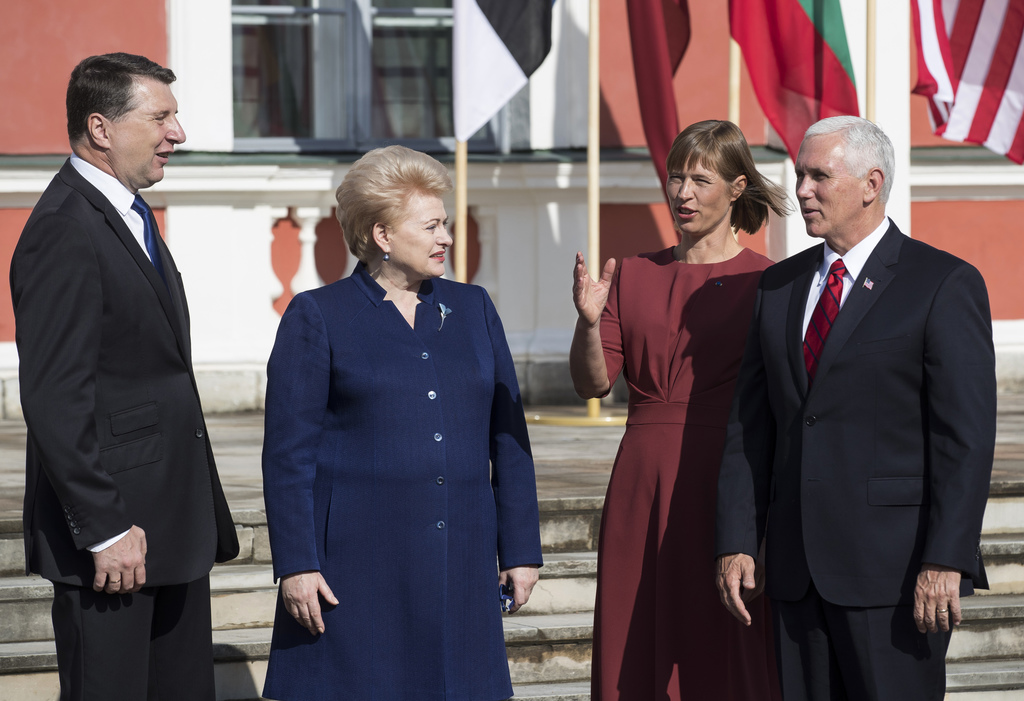 U.S. Vice President Mike Pence, right, Estonia's President Kersti Kaljulaid, second from right, Lithuania's President Dalia Grybauskaite, second from ...