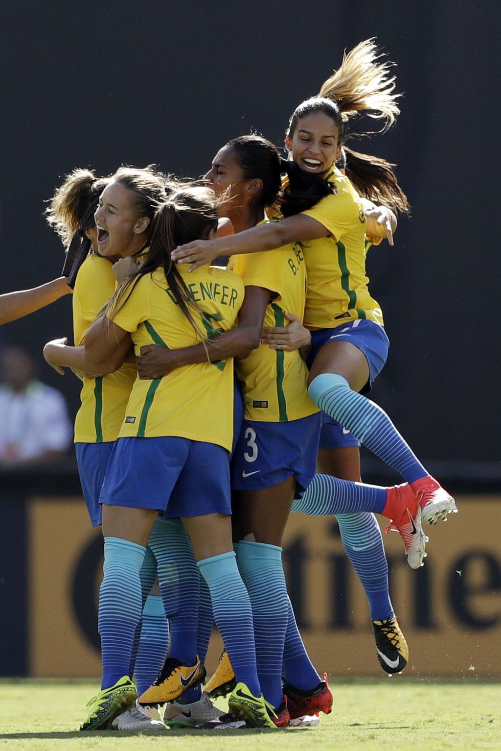 Brazil's team celebrates after midfielder Debinha scored against the United States during the first half of a Tournament of Nations women's soccer mat...