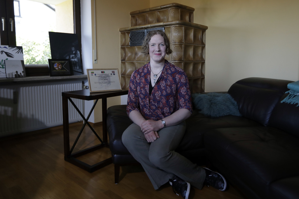 In this July 29, 2017 photo transgender U.S. army captain Jennifer Sims poses prior to an interview with The Associated Press in Beratzhausen near Reg...