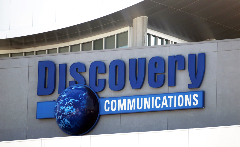 FILE - This Sept. 1, 2010 file photo shows the Discovery Communications networks headquarters building sign in Silver Spring, Md. Discovery Communicat...
