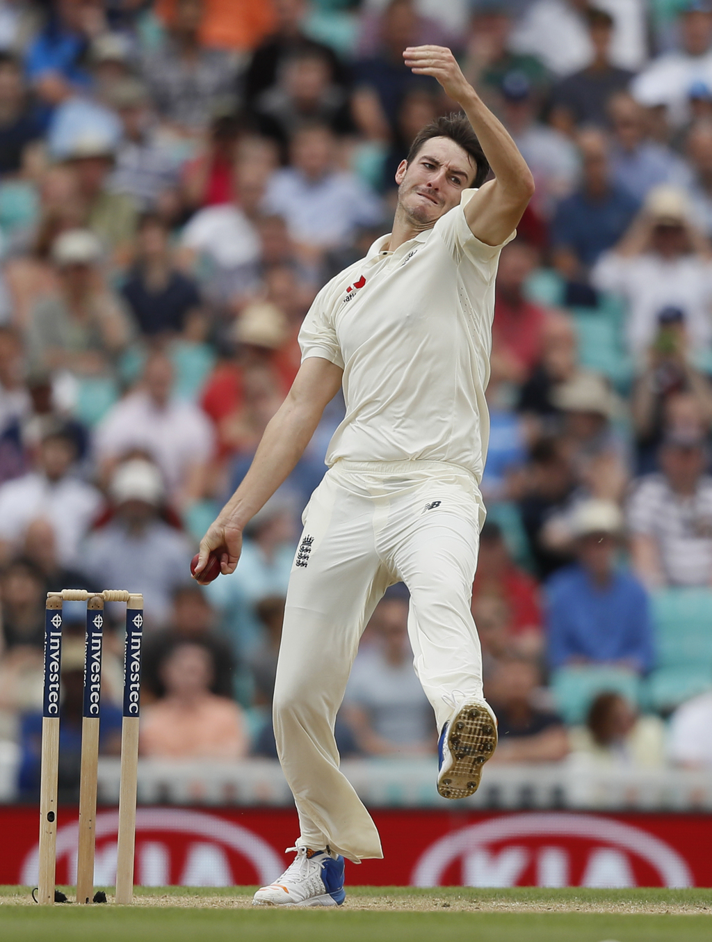 England's Toby Roland-Jones bowls on the fifth day of the third test match between England and South Africa at The Oval cricket ground in London, Mond...
