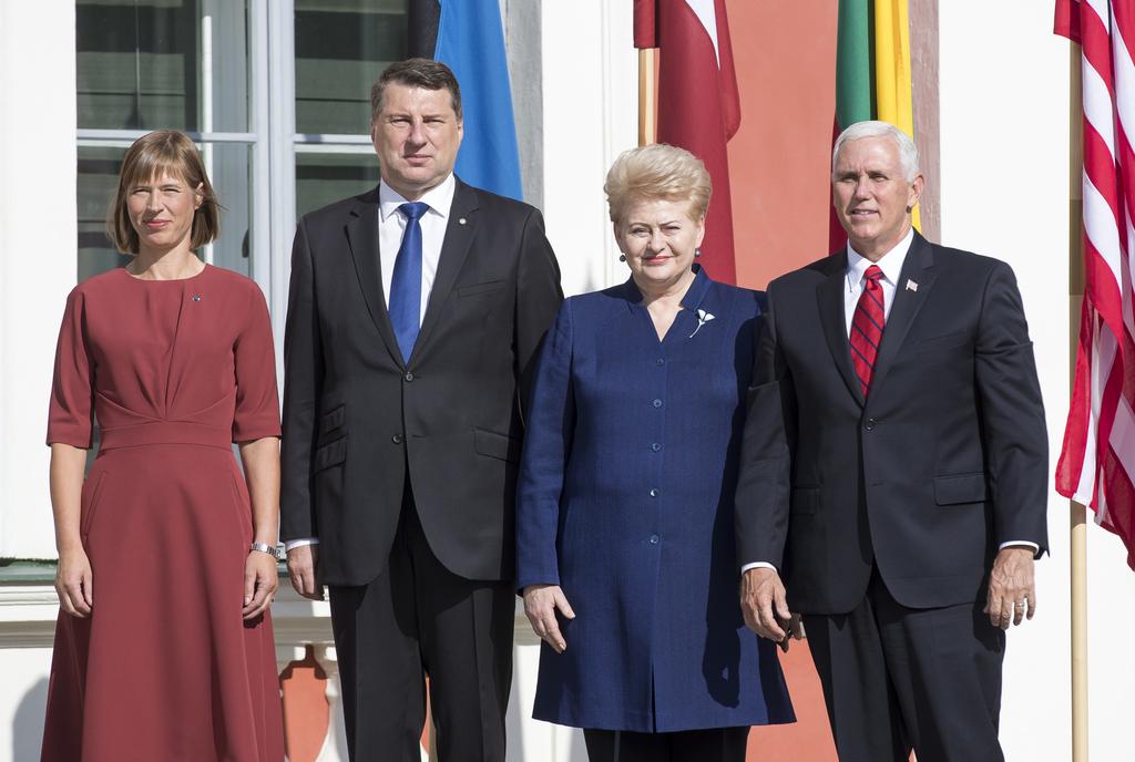 U.S. Vice President Mike Pence, right, Estonia's President Kersti Kaljulaid, left, Lithuania's President Dalia Grybauskaite, second from right, and La...