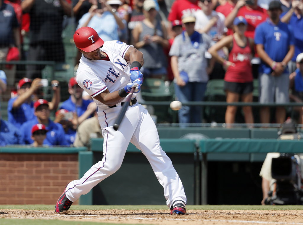 Texas Rangers' Adrian Beltre hits a double off a pitch from Baltimore Orioles' Wade Miley in the fourth inning of a baseball game, Sunday, July 30, 20...