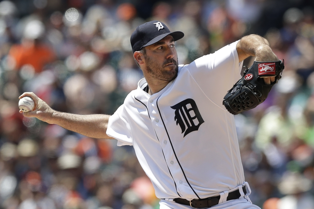 Detroit Tigers starting pitcher Justin Verlander throws during the first inning of a baseball game against the Houston Astros, Sunday, July 30, 2017, ...