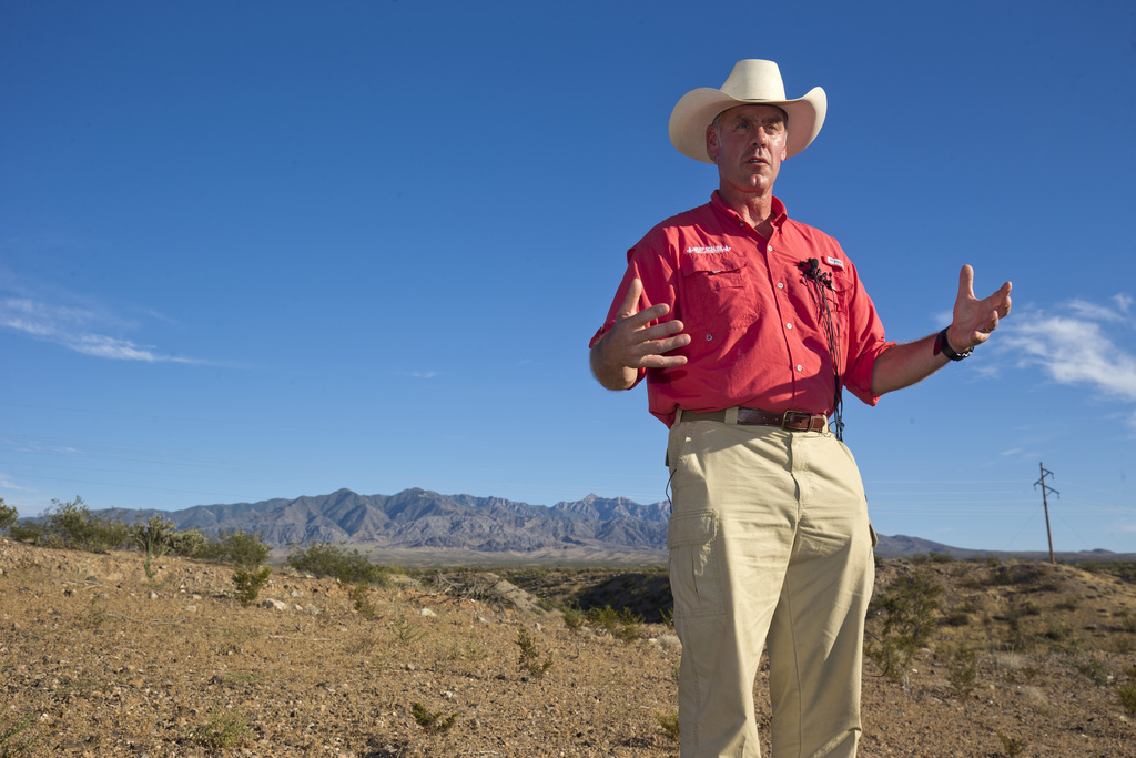 U.S. Interior Secretary Ryan Zinke speaks during a news conference near Gold Butte National Monument in Bunkerville, Nev., Saturday, July 30, 2017. Zi...