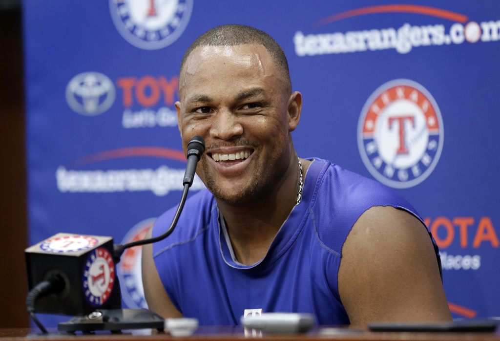 Texas Rangers' Adrian Beltre smiles during a post game interview following their 10-6 loss to the Baltimore Orioles in a baseball game, Sunday, July 3...