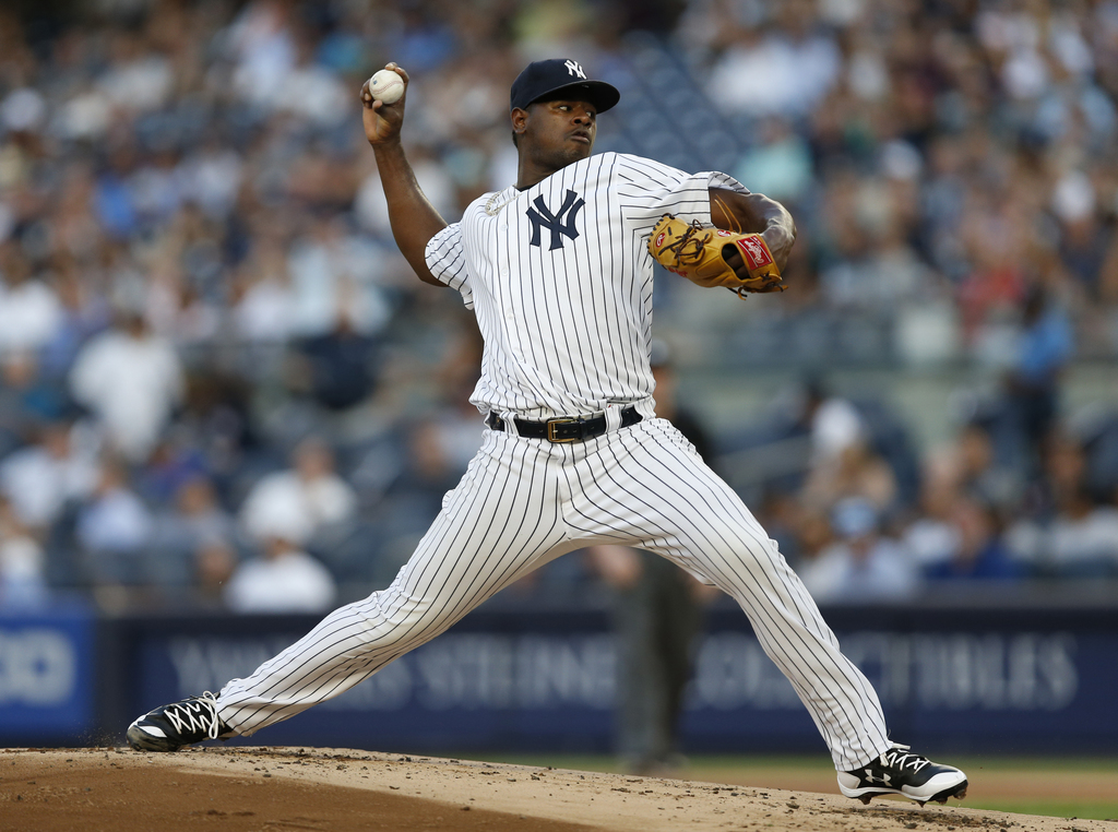 New York Yankees starting pitcher Luis Severino delivers during the first inning of a baseball game against the Detroit Tigers at Yankee Stadium in Ne...