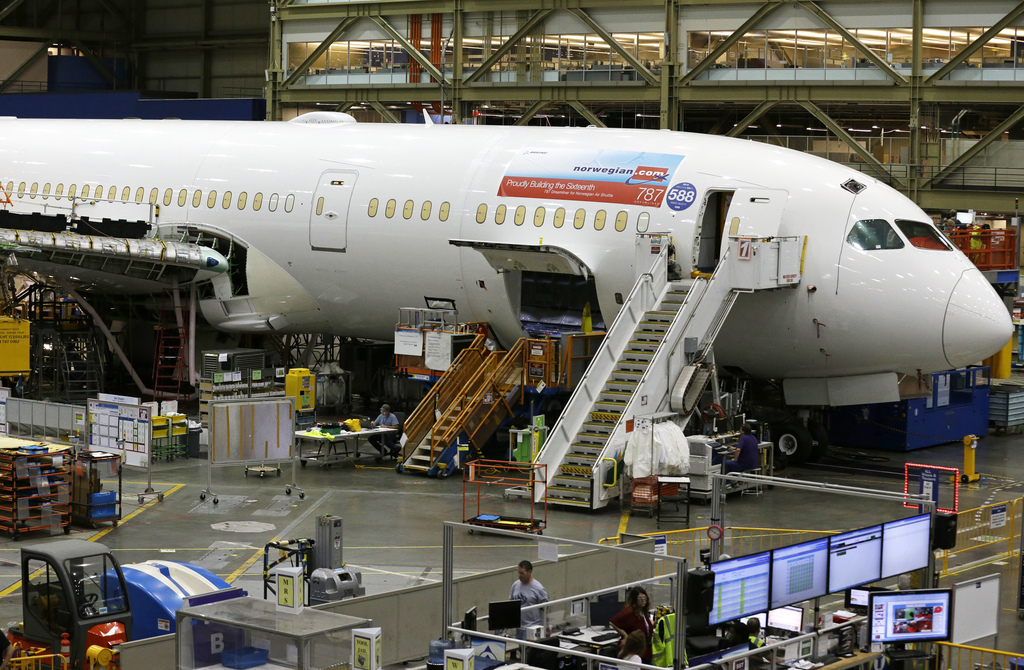 This Monday, June 12, 2017, photo shows a Boeing 787 being built for Norwegian Air Shuttle at Boeing Co.'s assembly facility, in Everett, Wash. On Tue...