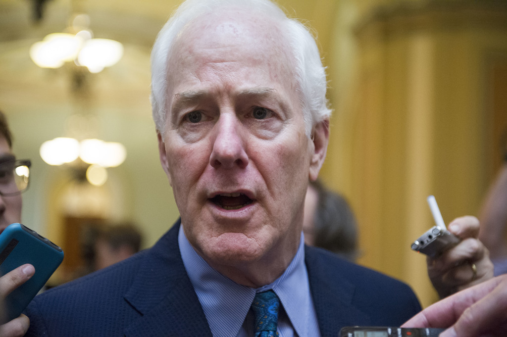 In this July 27, 2017, file photo, Senate Majority Whip John Cornyn of Texas talks to reporters as heads to the Senate on Capitol Hill in Washington. ...