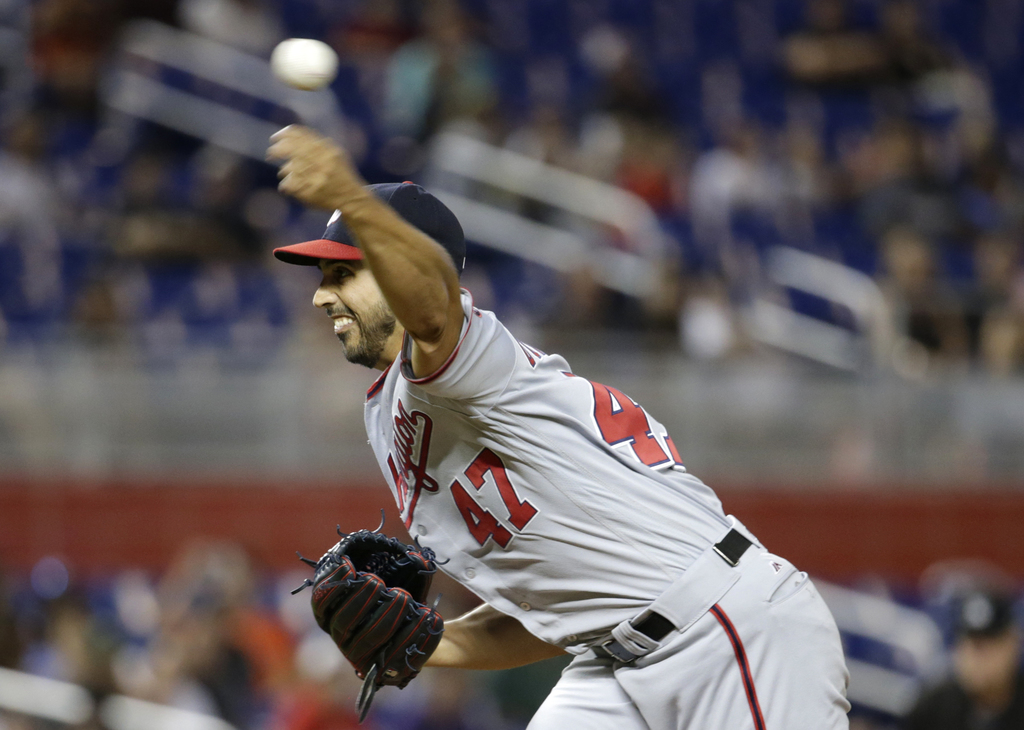 Washington Nationals starting pitcher Gio Gonzalez (47) delivers a pitch during the first inning of a baseball game against the Miami Marlins, Monday,...