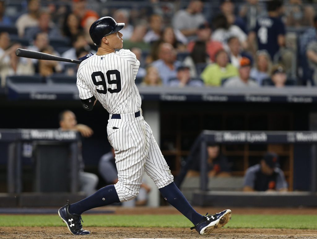 New York Yankees; Judge watches his solo home run during the fifth inning of a baseball game against the Detroit Tigers at Yankee Stadium in New York,...