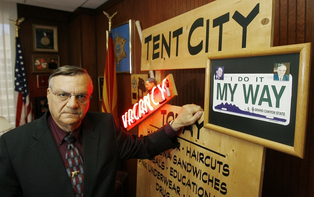 FILE--In this April 17, 2008, file photo, Maricopa County Sheriff Joe Arpaio next to some of his memorabilia in his office in Phoenix. Arpaio has been...