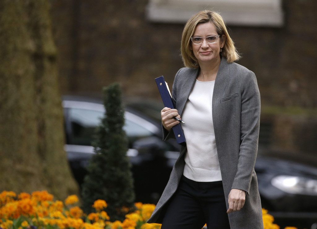 FILE- In this Wednesday, March 29, 2017 file photo, Britain's Home Secretary Amber Rudd, arrives for a cabinet meeting in 10 Downing Street, London. R...