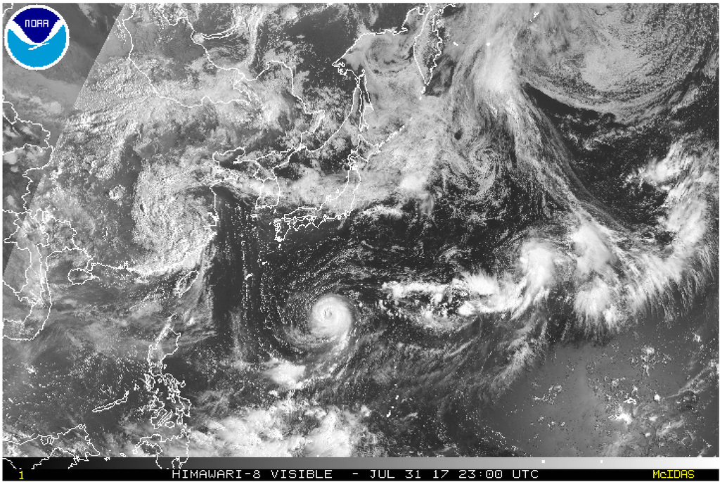 This satellite image taken Monday, July 31, 2017, and released by the National Oceanic and Atmospheric Administration shows Typhoon Noru. The powerful...
