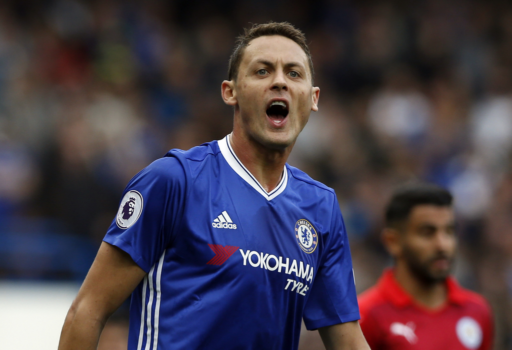FILE - In this Saturday, Oct. 15, 2016 file photo, Chelsea's Nemanja Matic shouts to his teammates during the English Premier League soccer match betw...