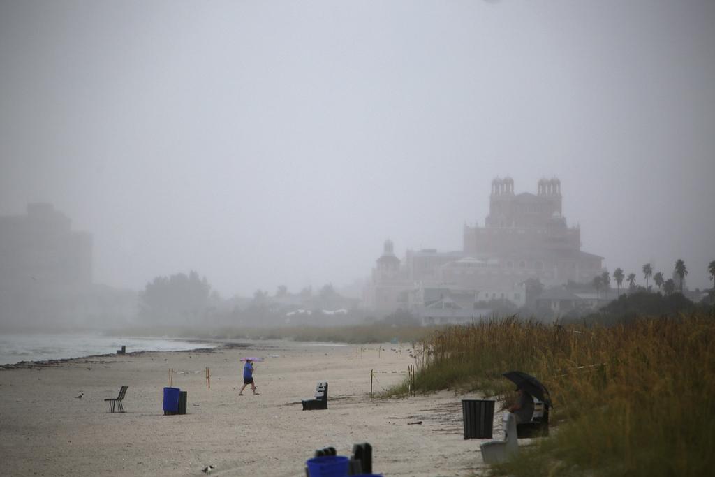 Waves kick up on Pass-a Grille Beach, St. Pete Beach, Fla., Monday, July 31, 2017. Tropical Storm Emily began trekking east across the Florida peninsu...