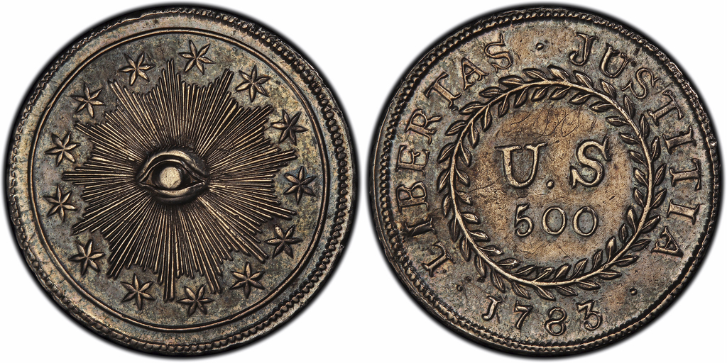 "This image provided by PCGS.com/Professional Coin Grading Service shows the front, left, and back of a 1783 plain obverse Nova Constellatio ""Quint"" si..."