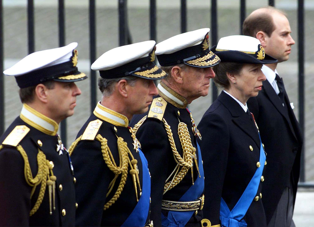 FILE - In this Tuesday, April 9, 2002 file photo members of Britain's Royal family follow the coffin of the Queen Mother , en route to her funeral in ...