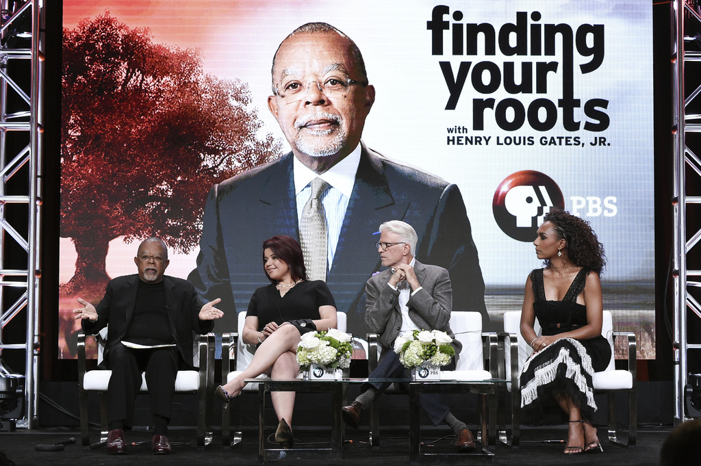 "Henry Louis Gates Jr., from left, Ana Navarro, Ted Danson and Janet Mock participate in the ""Finding Your Roots"" panel during the PBS portion of the 2..."