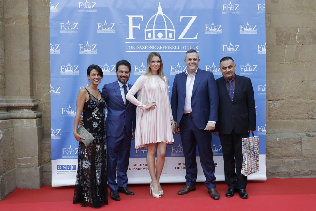Nader Fares Abi, second from left, and Rahi Farid second from right, advisors of the Lebanon's Opera, arrive on the red carpet of Andrea Bocelli conce...