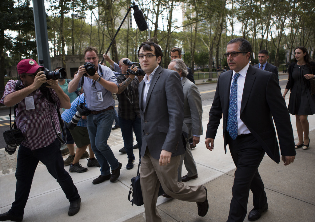 Former pharmaceutical CEO Martin Shkreli leaves the U.S. District Court for the Eastern District of New York on Monday, July 31, 2017, in the Brooklyn...