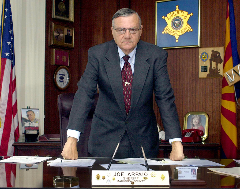 FILE--In this April 9, 2004, file photo, Maricopa County Sheriff Joe Arpaio is shown in his office in Phoenix, Ariz. Arpaio has been convicted of a cr...