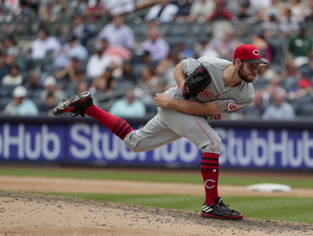 FILE - In this July 26, 2017, file photo, Cincinnati Reds relief pitcher Tony Cingrani delivers against the New York Yankees during the seventh inning...
