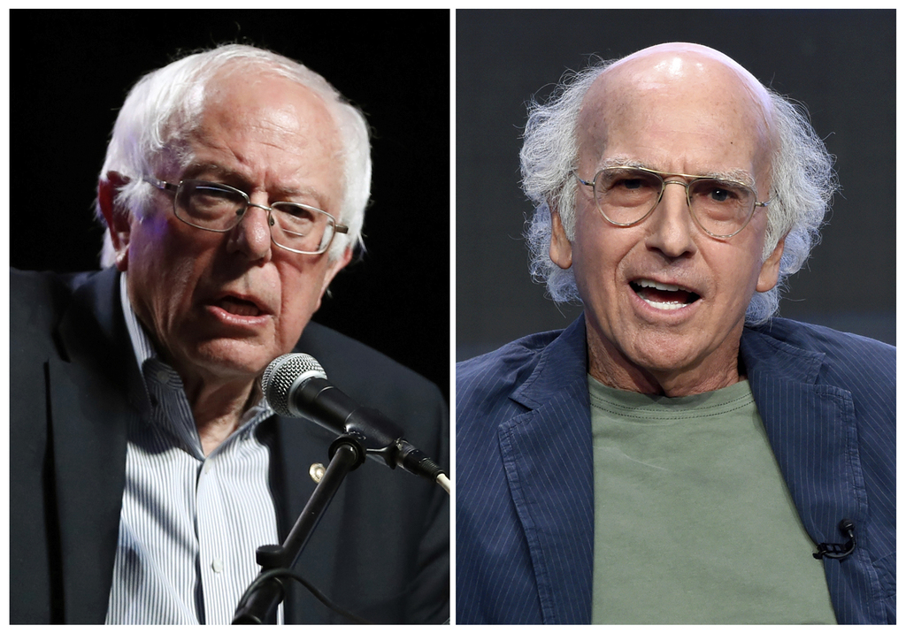 FILE - In this combination photo, Sen. Bernie Sanders, I-Vt., left, and speaks at a rally on April 20, 2017, in Omaha, Neb., and actor-producer Larry ...