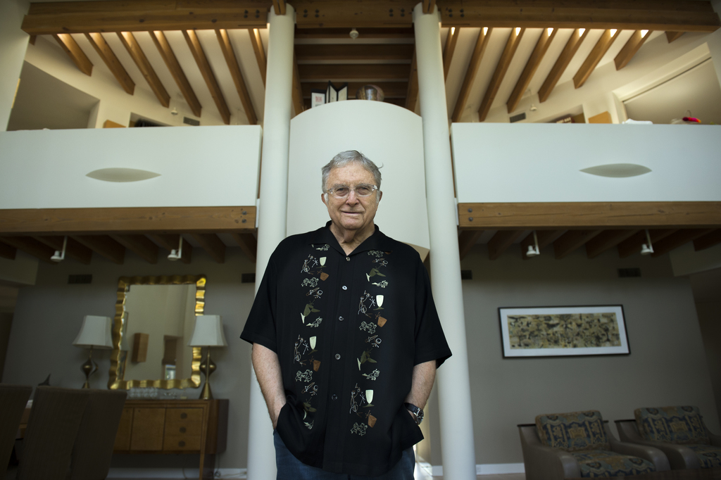 """In this July 27, 2017 photo, singer-songwriter Randy Newman poses for a portrait at his home in Pacific Palisades, Calif., to promote his album, """"Dark..."""