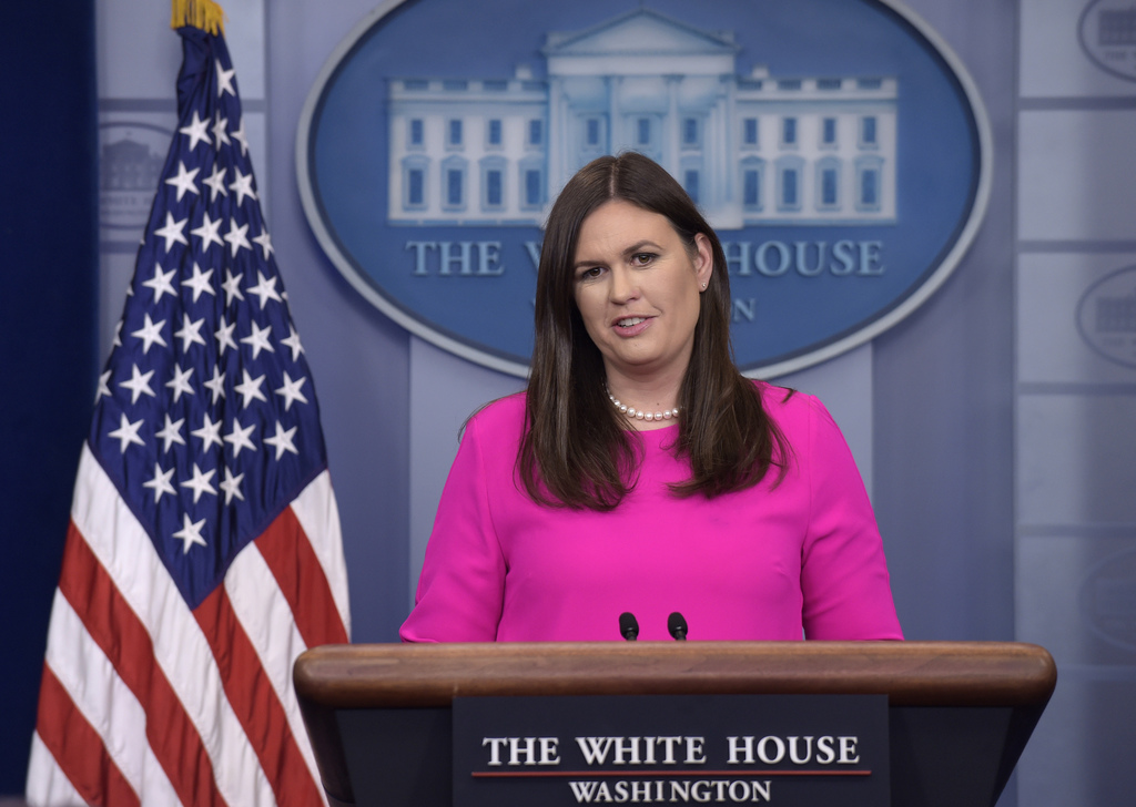 White House press secretary Sarah Huckabee Sanders arrives to speak at the daily briefing at the White House in Washington, Monday, July 31, 2017. (AP...