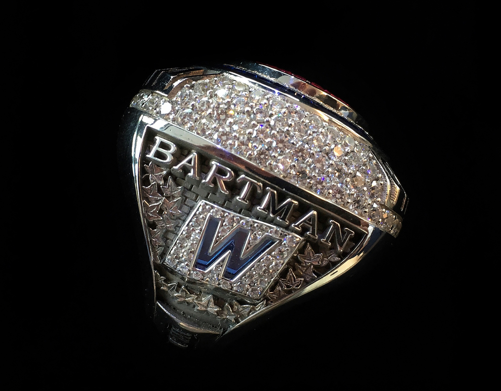 This photo provided by the Chicago Cubs baseball team shows a 2016 World Series championship ring the team announced Monday, July 31, 2017, they were ...