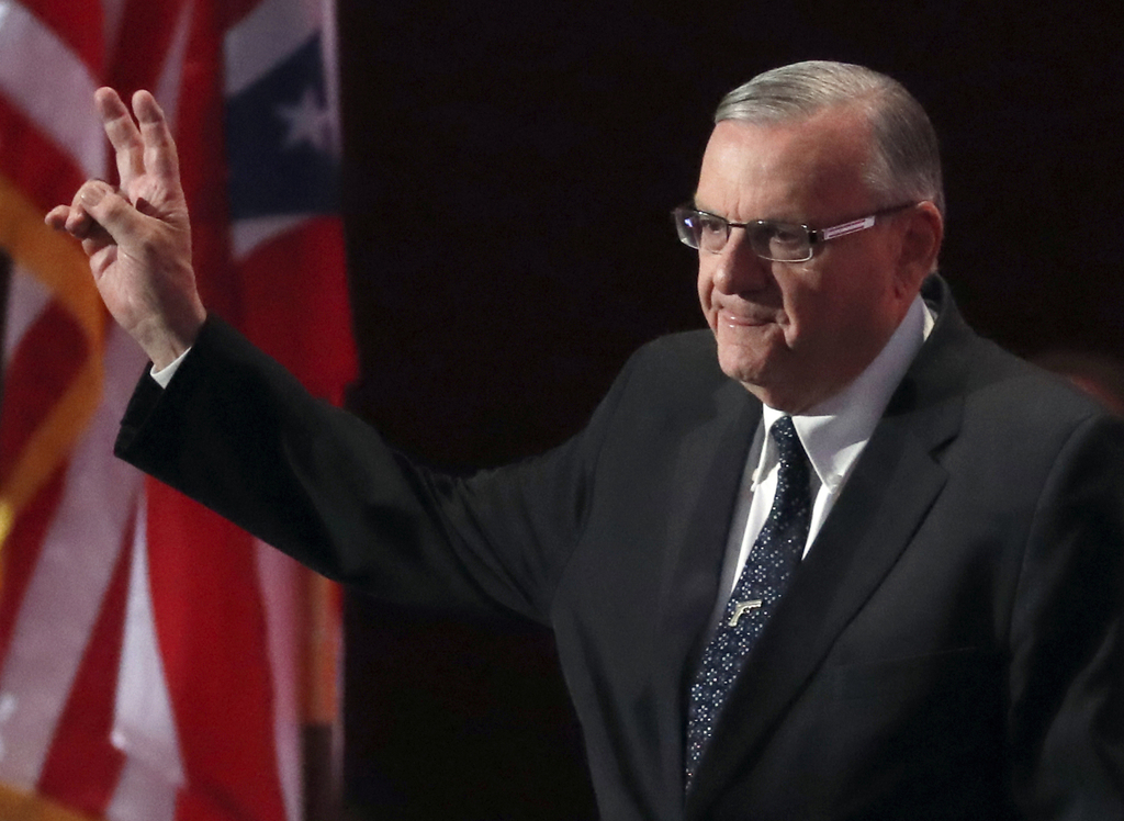 FILE - In this July 21, 2016, file photo, Sheriff Joe Arpaio of Arizona walks on the stage to speak during the final day of the Republican National Co...